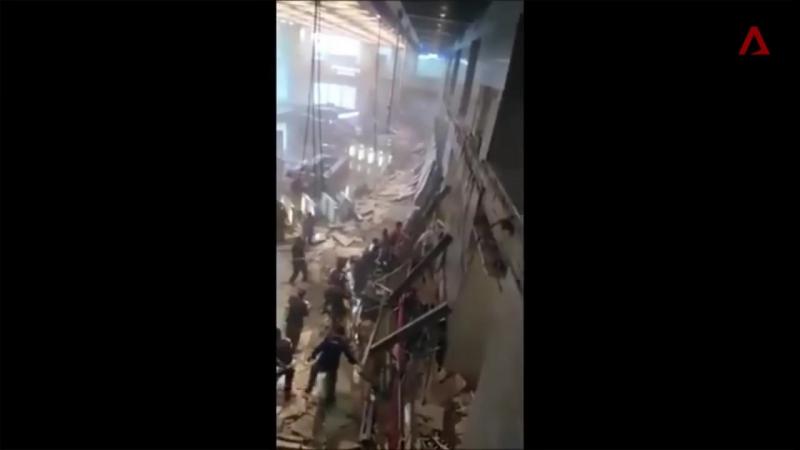 Floor collapse at Indonesia Stock Exchange in Jakarta