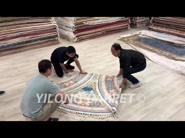 Hand Knotted Oriental Silk Carpet Persian Tabriz Rug