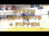 Steph Curry splashes 69-for-75 on 3s + Scottie Pippen w Steve Kerr after practice in Oakland