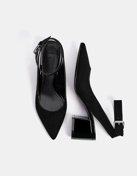 Туфли без задников, на среднем каблуке