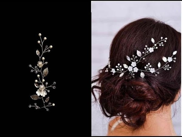EASY How To Make Flowers And Leaves Hair Vine Hair Accessory Hair Comb Bridal Accessory Wire Pins