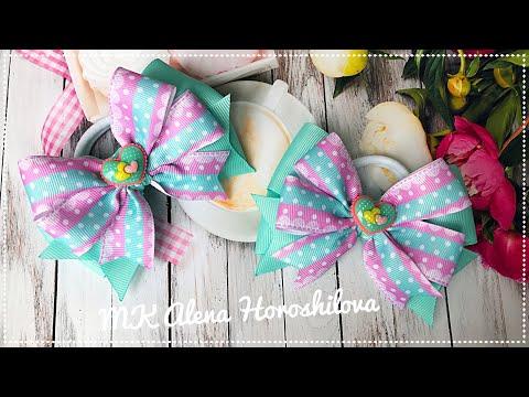 Бантик из репсовых лент МК Канзаши Алена Хорошилова tutorial ribbon bow laço de fitas