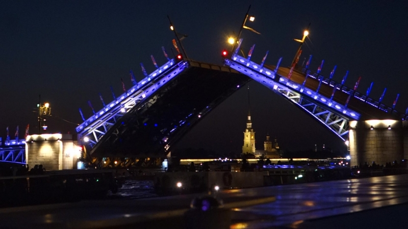 Разводные мосты над гранитной Невой. Ночью белой – душа Петербурга!