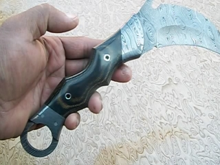 WLAPLOOK CUSTOM HAND MADE DAMASCUS STEEL KARAMBIT KNIFE