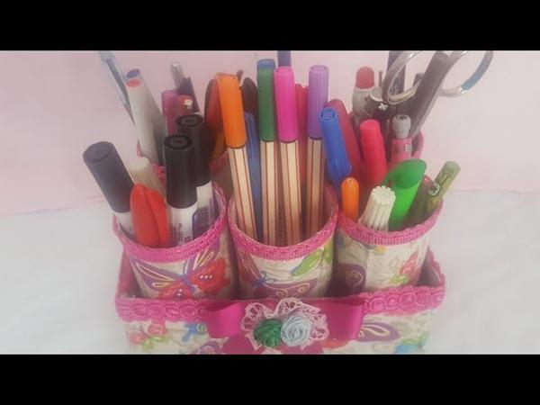 Como fazer Porta lápis e organizador usando caixa de leite e rolinho de papel higiênico*artesanato*