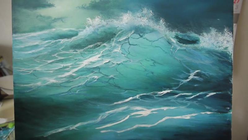 Malen mit Acryl, Blaue Welle, Painting with acrylic, blue wave Рисование акрилом