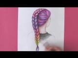 Как нарисовать ВОЛОСЫ девушки, прическу - косу