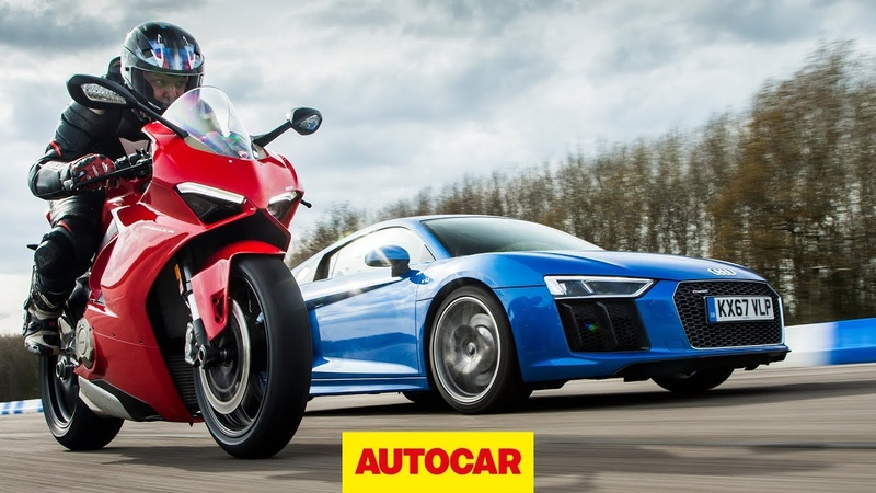 Drag race Audi R8 vs Ducati Panigale V4 Car vs Bike Autocar