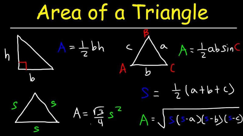 Area of a Triangle, Given 3 Sides, Heron's Formula, Trigonometry