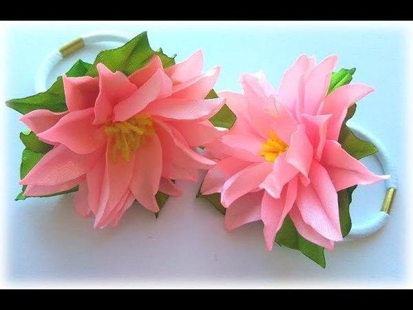 МК Резинки с цветами из атласной ленты/ Канзаши/DIY Ribbon flower