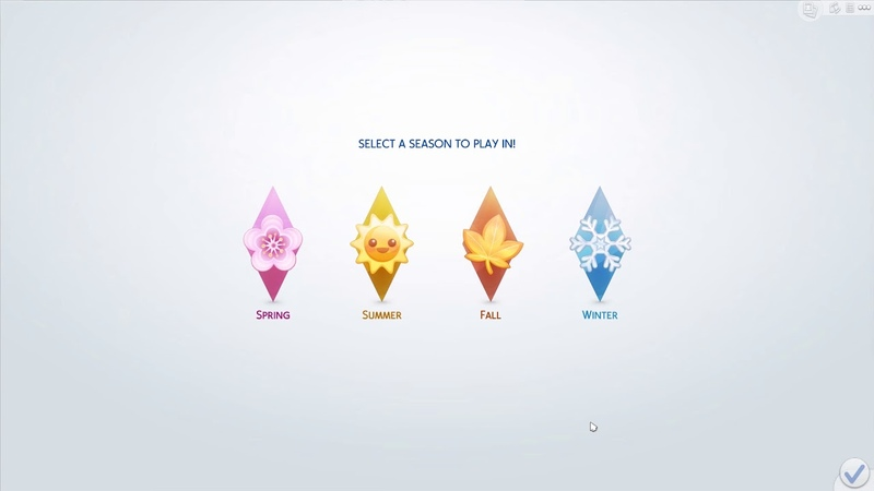 The Sims 4 Seasons: Seasons Chooser Menu