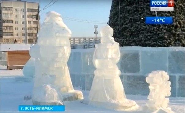 Непонятные снежные фигуры, созданные в Усть-Илимске прошлой зимой