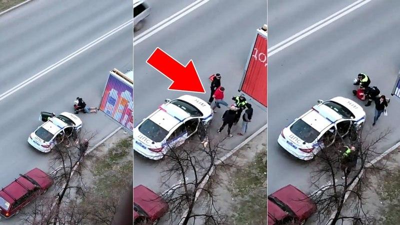 В Тюмени пьяный водитель пнул инспектора ДПС.