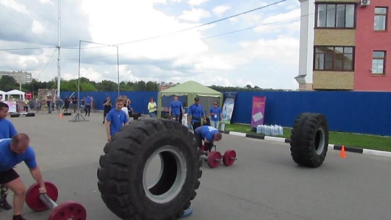 Эстофета 20 метров с общим весом в руках 240кг. и кантовка покрышки весом 320кг.