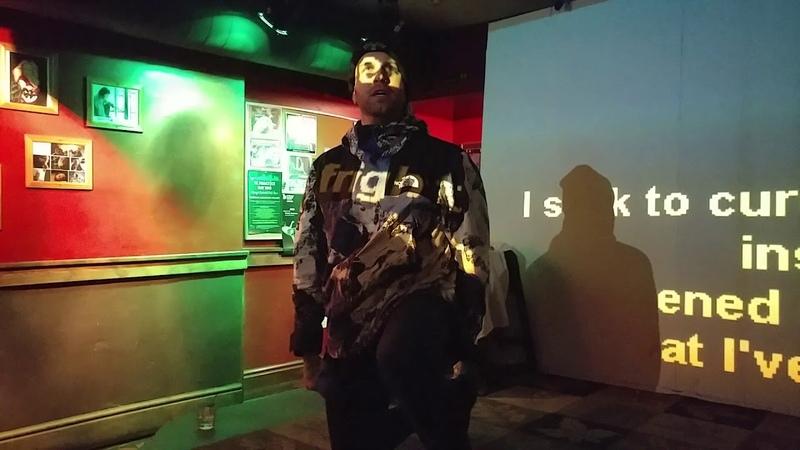 Fronz singing Africa at karaoke.