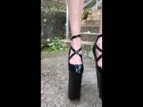 Lara in 10 inch extrem platform pumps climb stairs 25 cm Plateau Pumps beim Treppensteigen Lauftest