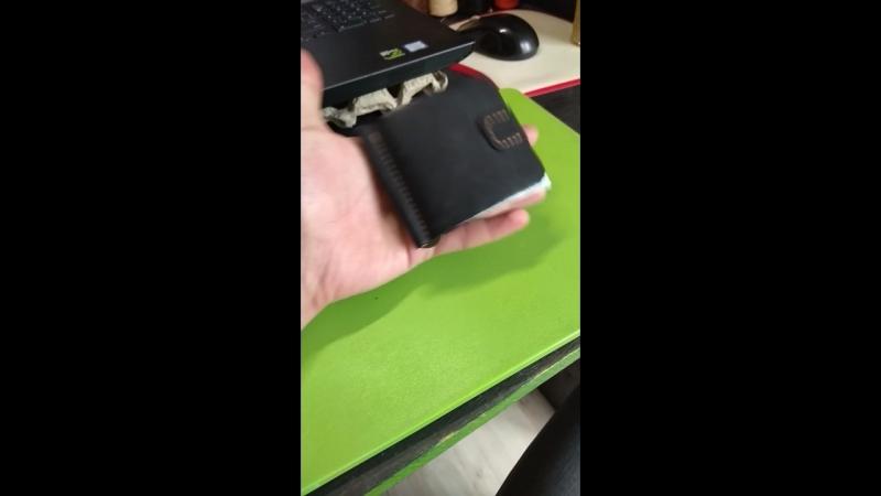 кожаный кошелек-прищепка