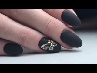 Нежная бабочка на чёрном матовом
