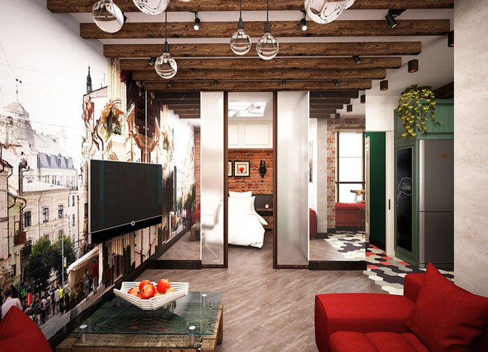 Проект квартиры 39 м под лофт.