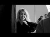 Gigi Hadid, Kate Moss and Jordan Barrett on set for the Stuart Weitzman SS18 campaign.