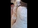 Свадебное платье белого цвета, телесный фатин на корсете украшен кружевом и расшит вручную, длинный рукав, размер 50, юбка атлас