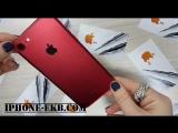 iPhone 7 Red с черным экраном и яблоком.
