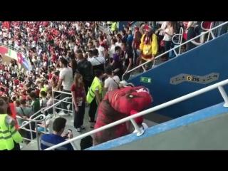 Болельщик в кокошнике подрался с динозавром на матче Швейцария — Коста-Рика в Нижнем Новгороде