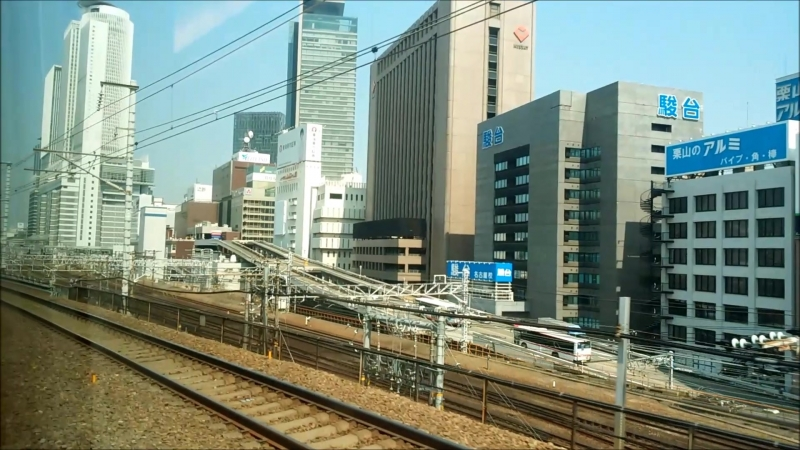 View from Shinkansen arriving at Nagoya