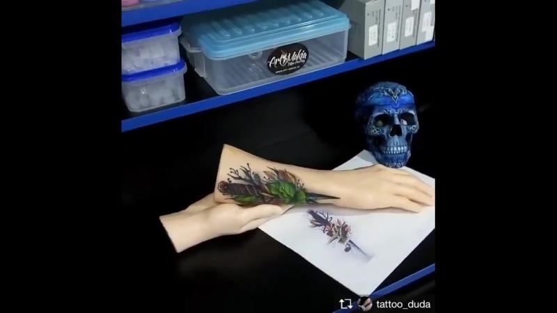 Пример работы на силиконовой руке No Blood Tattoo Skin татуировщика @tattoo_duda из Мелитополя