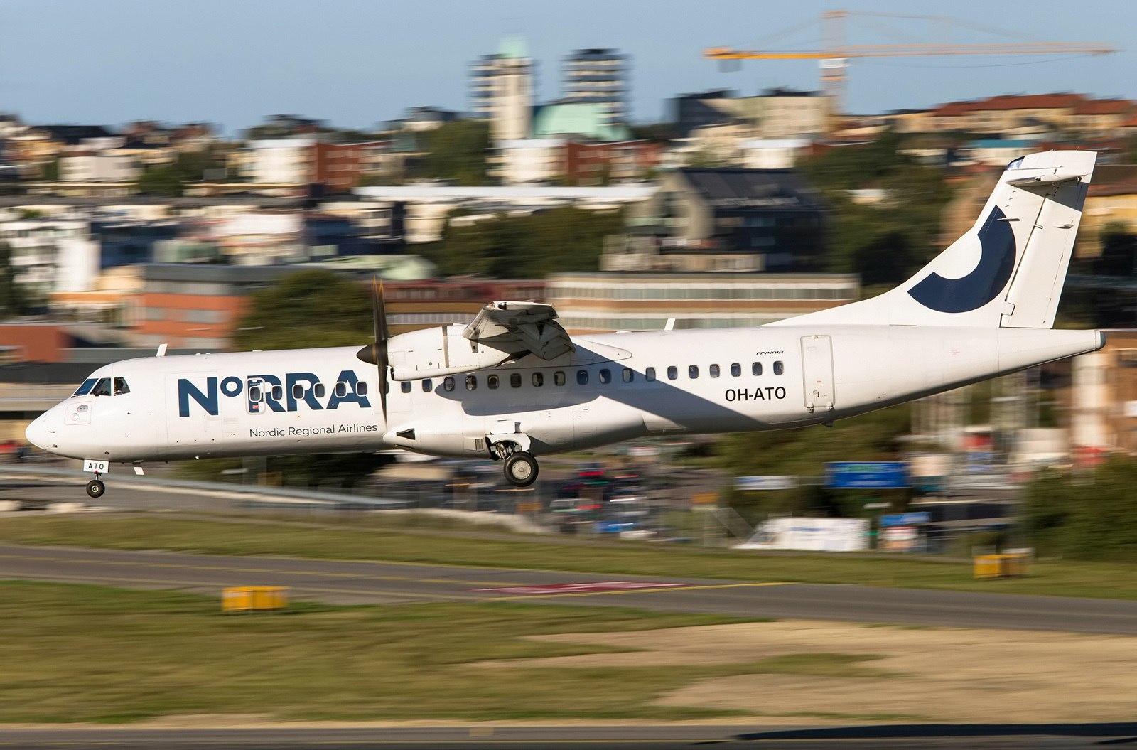ATR-72 авиакомпании NORRA заходит на посадку