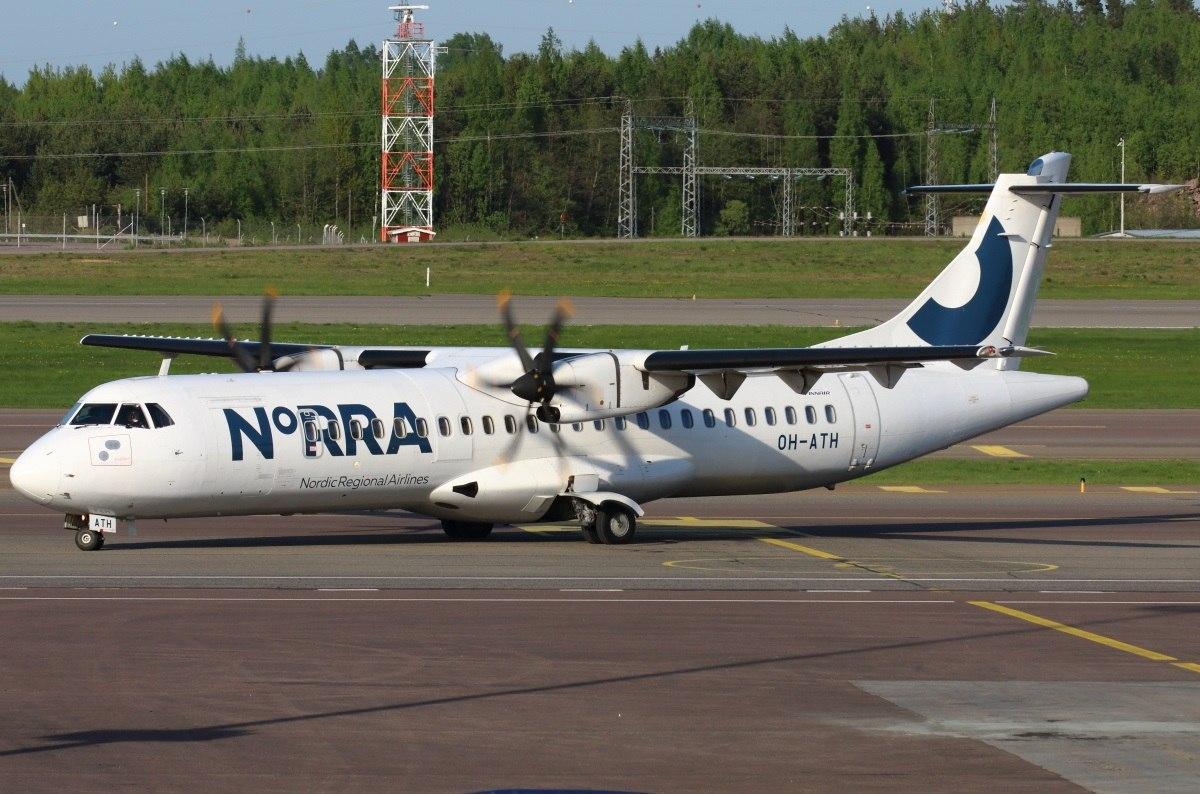 Самолет финской авиакомпании после успешной посадки