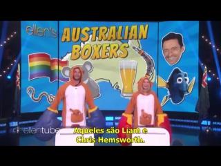"↳ Margot Robbie e Chris Hemsworth jogam ""Australian Boxers"" no programa da Ellen Degeneres (O9.O1.2O18) ― JGBR"