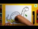 Как нарисовать Динозавра БРОНТОЗАВР - Урок рисования для детей от 3 лет
