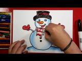 Как нарисовать СНЕГОВИКА на Новый год _ Урок рисования для детей