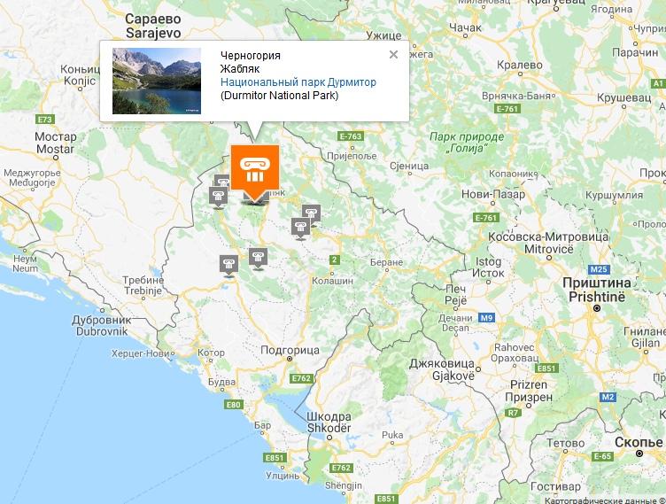 Zabljak on the map of Montenegro