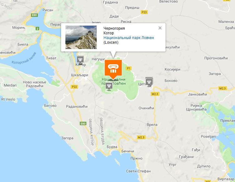 Lovchen on the map of Montenegro