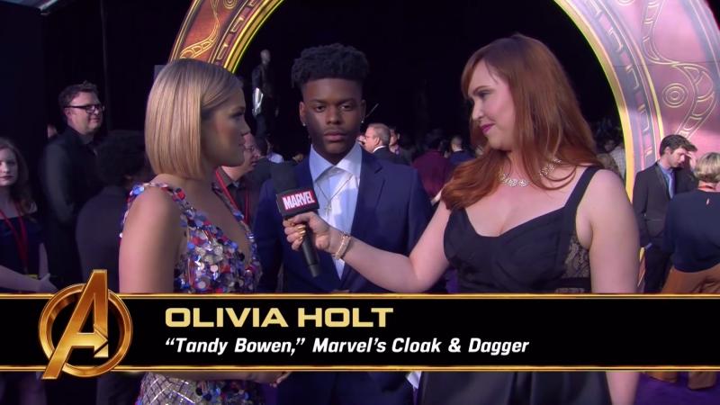 Обри Джозеф и Оливия Холт на премьере Войны Бесконечности в Лос Анджелесе