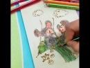 Выжигаем и раскрашиваем карандашами Stabilo танцующих мышек