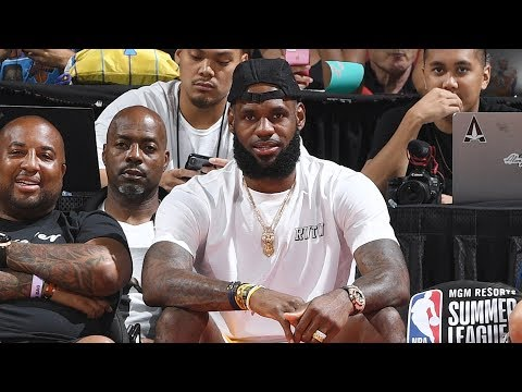 LeBron James Watches His New Team The Los Angeles Lakers Defeat The Detroit Pistons In Summer League