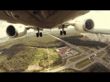 Взлет с камерой, установленной на переднем шасси Boeing-737