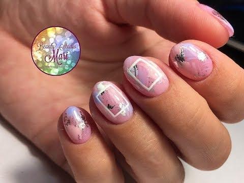 Модный летний дизайн ногтей 2018 года! Мазки гель-лаком и отпечатки фольгой