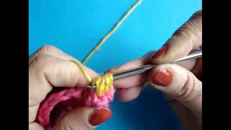 Видеоурок вязания крючком Спущенный пышный столбик