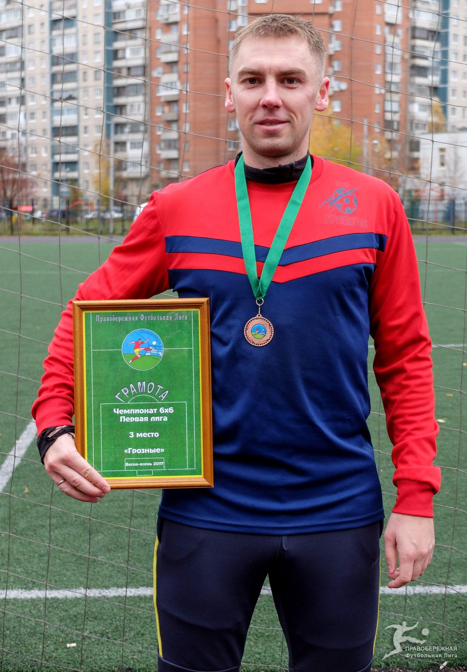 """Владимир Хвойницкий (""""Грозные"""") - 3-е место в Первой лиге 6х6."""