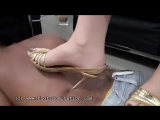 Dark Mistress trampling gold sandals and black heels