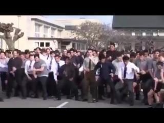 Студенты исполняют мощный танец Хака как дань уважения на похоронах любимого учи
