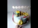 Тортик с экскаватором и набором инструментов для маленького мастера