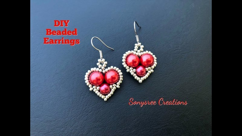 Sweet Heart ❤️Earrings.Beaded Earrings 💞. How to make Earrings