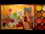 Как нарисовать осьминога поэтапно. Урок рисования гуашью для детей 4-5 лет.