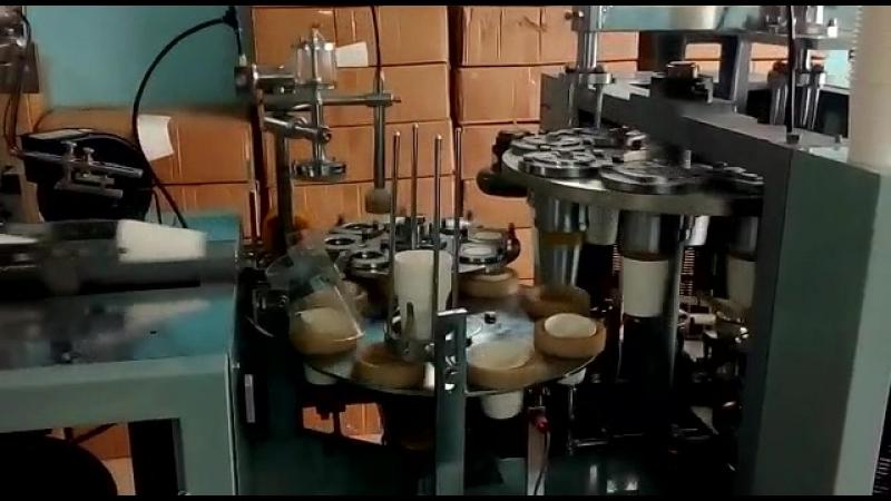 изготовление бумажных стаканов на машине JMD-120S на производстве клиента