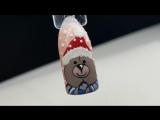 Дизайн ногтей.Дизайн гель-красками.Зимний дизайн.Мишка